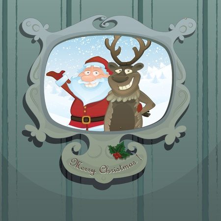 santa moose: Christmas series. Funny Santa Claus and Rudolph reindeer in a picture frame Illustration