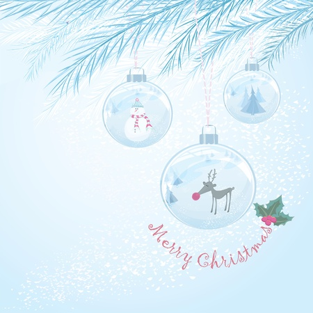 Vector Christmas series. Holiday greeting card with Rudolph, snowman, and trees inside glass ornaments. Vector