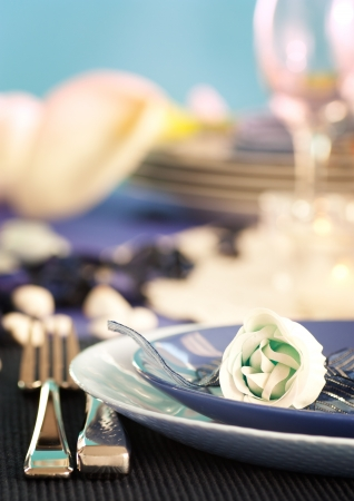 Blue table setting for romantic dinner with rose.