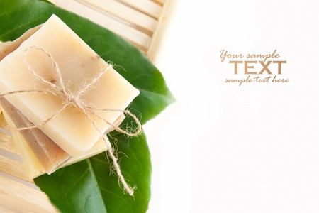 soap sud: Spa setting with natural soaps.