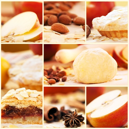 Collage of apple pie and various ingredients. photo