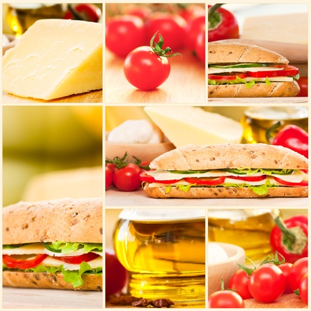 food buffet: Collage of cheese sandwich with vegatables.