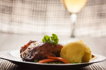 Baked chicken with mashed potatoes, peas and carrots Stock Photo - 11227460