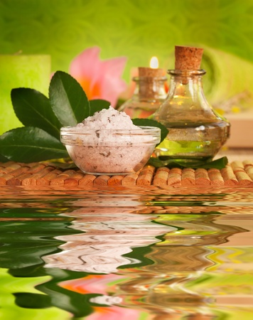 feng: Spa setting with bath salt and floral water