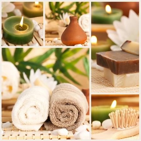 Spa collage compuesto por cinco imágenes. Agua floral, sales de baño, velas y una toalla.