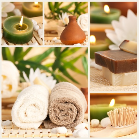 Spa collage made of five images. Floral water, bath salt, candles and towel.