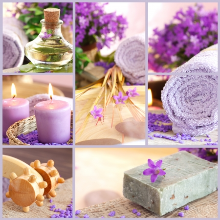 spa stones: Collage of spa products. Stock Photo