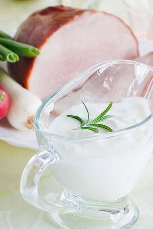 horseradish: Boilder ham with horseradish sauce and vegetables. typical Easter dish