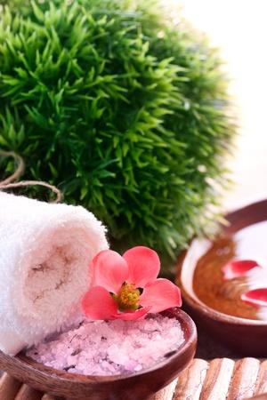 stone bowl: Spa setting with bath salt and towel.