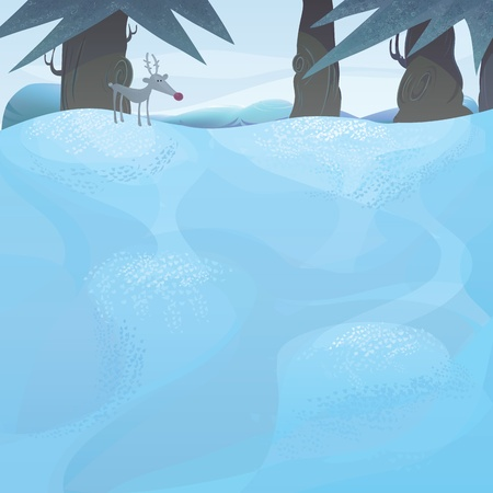 Christmas series with copyspace.winter landscape with pine trees and Rudolph and the frozen meadow Vector