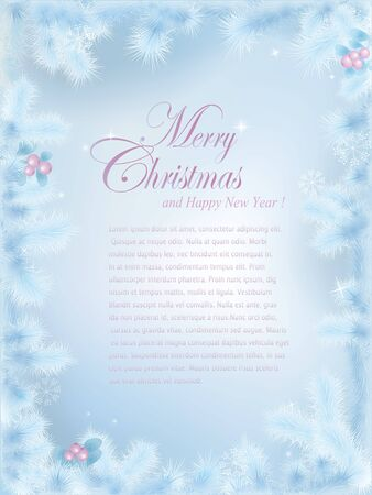 Christmas series. Frozen fir branches border design. Space for your text Vector