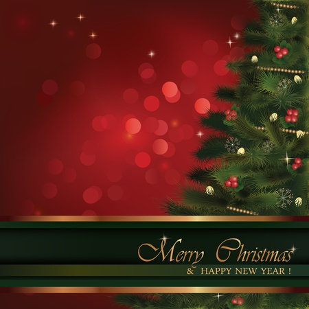 Christmas greeting card. No transparency used. Christmas fluffy tree with natural ornaments and red bokeh background. Background is in its separate layer and can be used on its own. Vector