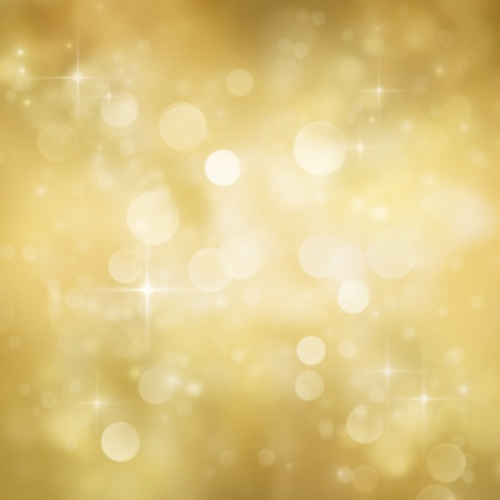 gala: Festive gold Christmas abstract  background with bokeh lights and stars.