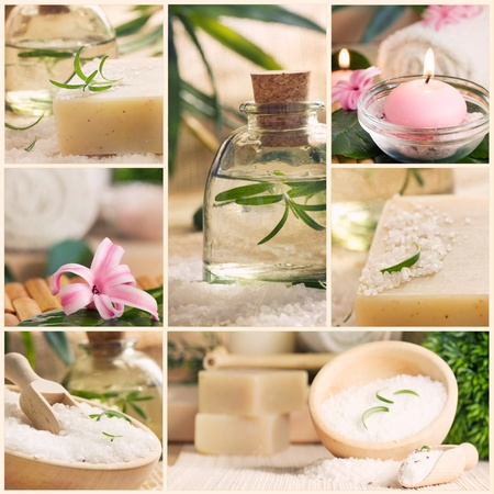 Spa series. Spa collage made of five images. Floral water, bath salt, candles and towel. photo
