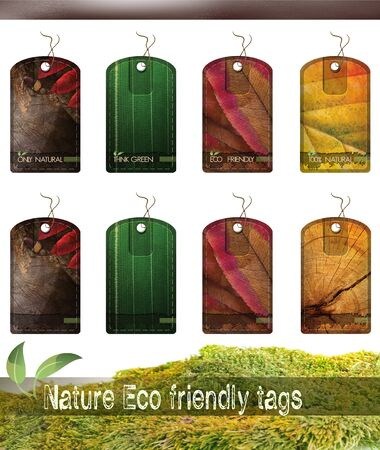 4 nature eco friendly tags for organic products. Version with or without text so you can place your own. photo
