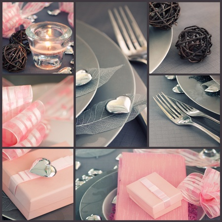 Restaurant series. Collage of fancy Valentine's day dinner.  Holiday luxury table setting with beautiful  pink and silver ornaments photo