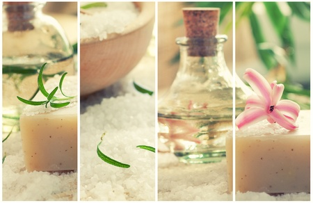 Spa series. Wellness dayspa collage with floral water, bath salt, candles and towel. photo