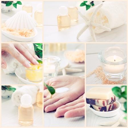 Spa & Wellness serien. Collage av manikyr och skönhetsprodukter. Schampo, vackra kvinnliga händer, badsalt, ljus, schampo och hudkräm