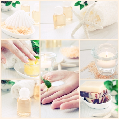 Spa & wellness series. Collage of manicure and beauty products. Shampoo, beautiful female hands, bath salt, candle,shampoo and skin cream photo