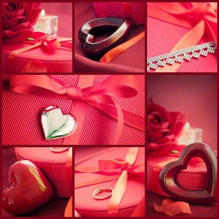 Valentines series. Collage of fancy Valentines symbols.  Holiday luxury table setting with beautiful red hearts and jewlery presents. photo