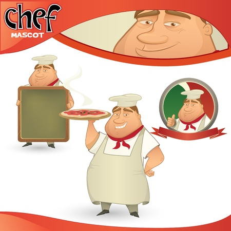 commercial kitchen: Vector chef - Italian restaurant mascot. Cartoon character with menu board, pizza and badge