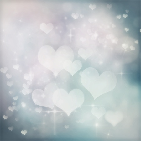 silver stars: Valentines day abstract background with  bokeh lights and stars