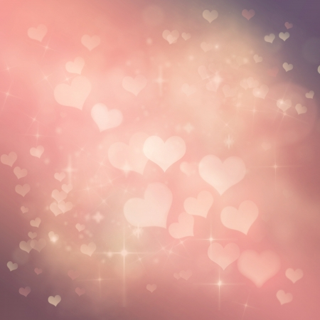 valentines day background: Valentines day abstract nature background with  bokeh lights and hearts