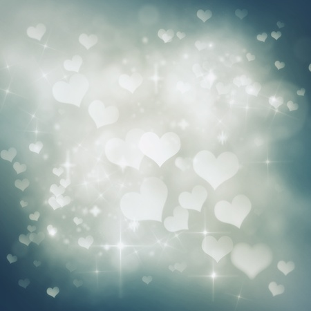 Valentines day abstract nature background with  bokeh lights and hearts photo