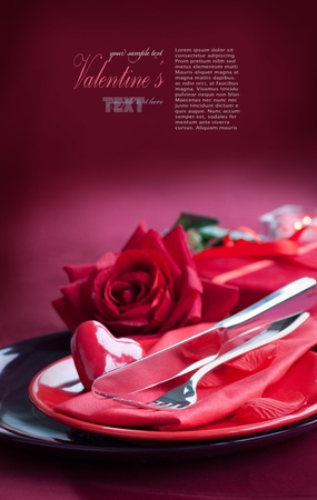 Restaurant series. Valentines table setting photo