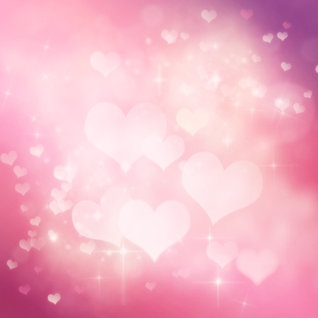 Valentines day abstract background with  bokeh lights and stars photo