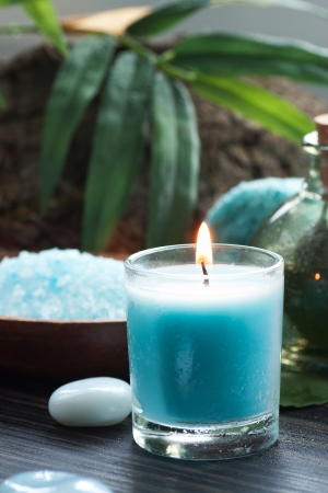 scented candle: Spa and wellness  setting with bath salt, candles and towel. Blue dayspa nature set Stock Photo