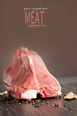 Raw veal meat with copypsace photo