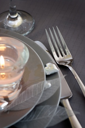 dinning table: Restaurant series. Valentine place setting Stock Photo