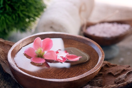 stone bowl: Spa and wellness  setting with water for treatment and flowers. Stock Photo
