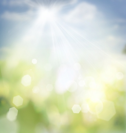soft background: Spring or summer abstract nature background with grass in the meadow and blue sky in the back
