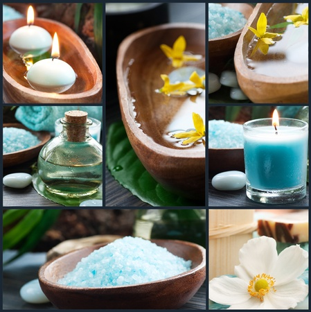 Spa collage series  Spa collage made of five images  Floral water, bath salt, candles and towel  Stock Photo - 12440904