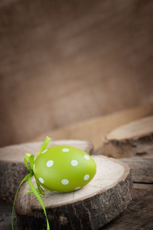 Easter holiday background with easter egg in natural wood setting photo