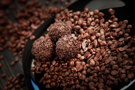 ganache: Chocolate balls with chocolate sprinkles and chocolate chips Stock Photo