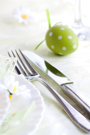 Restaurant menu series  Easter table setting with flowers and decoration Stock Photo