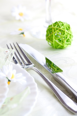restaurant setting: Restaurant menu series  Spring table setting with flowers and decoration