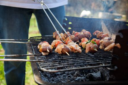 Spring barbecue  Chicken and vegetables barbecue in the garden photo