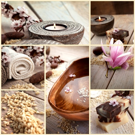 Collage of spa products. Treatment water, natural soaps, candles, bath salt, towels in beige brown setting.
