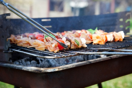 Spring barbecue: Chicken and vegetables barbecue in the garden photo