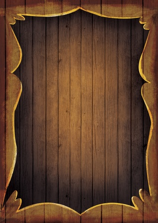 western wall: Wooden frame illustration. Artistic Hand painted wooden coutry western frame with copyspace.