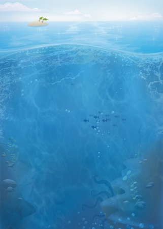 Underwater summer ocean illustration. Cartoon Sea view to School of fish and distant island.