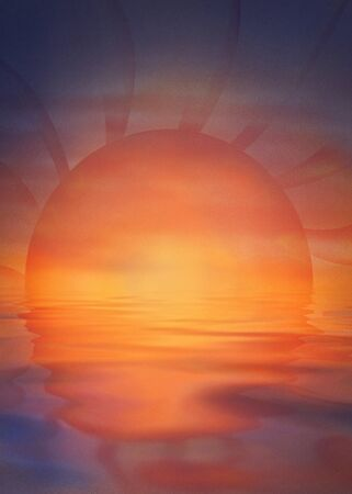sundown: Summer background with colorful sunset and ocean or sea reflection on water surface. Stock Photo