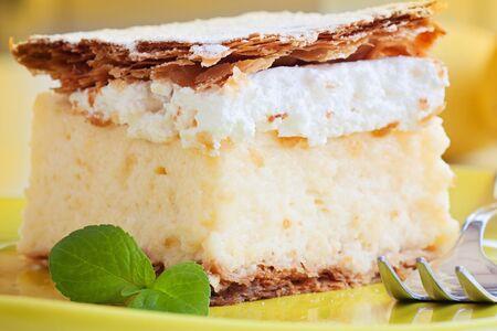 vanilla and custard cream cake dessert photo