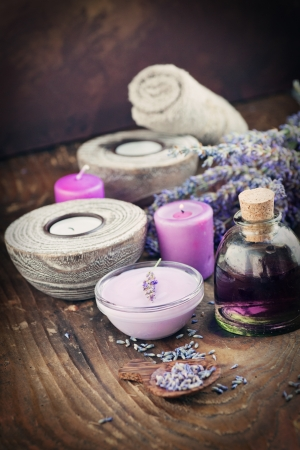 Lavender spa setting. Wellness theme with lavender products. photo