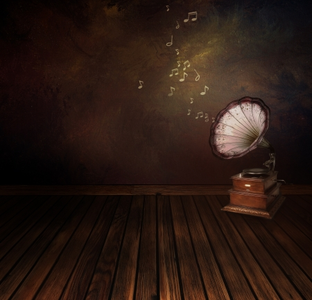 gramophone: Music concept. Background  with Vintage phonograph on Art abstract original painting
