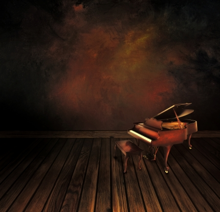 note pc: Music concept  Background  with Vintage piano on Art abstract original painting